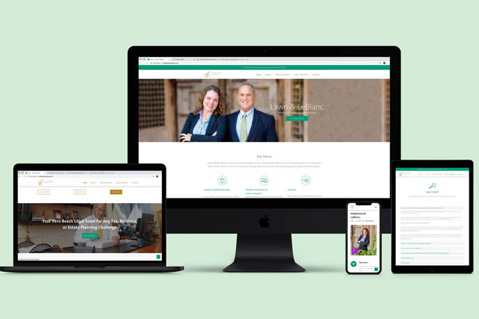 Ironside web design work done for Lawn and Leblanc